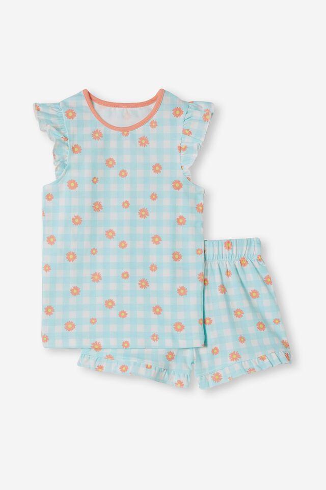 Stacey Short Sleeve Flutter Pyjama Set, GINGHAM DAISY /DREAM BLUE