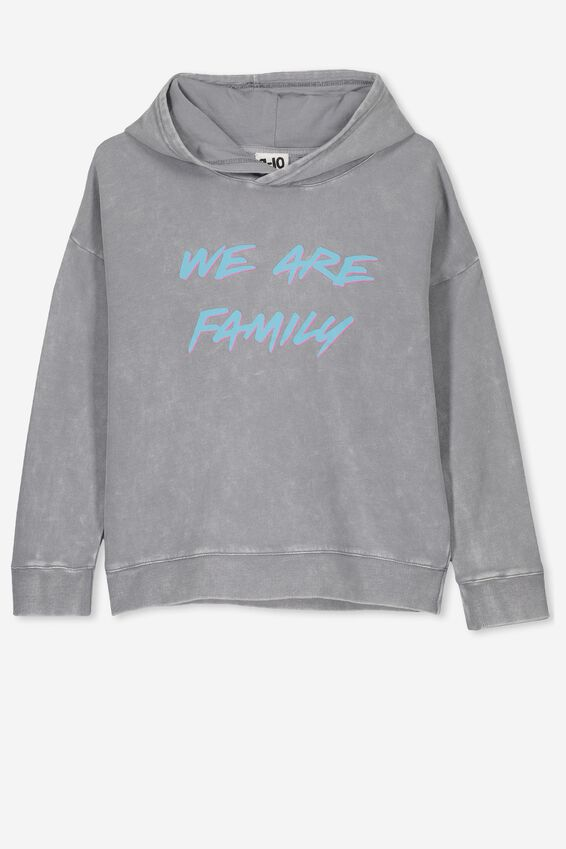 Senna Hoodie, LIGHT GREY WASH/WE ARE FAMILY/DROP