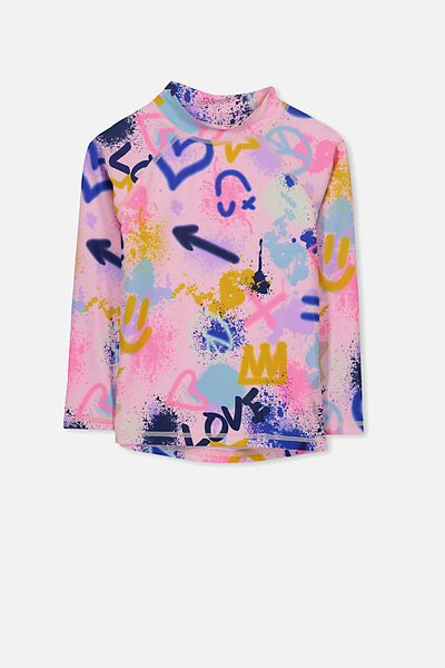 Hamilton Long Sleeve Rash Vest, PINK MAGNOLIA/GRAFFITI