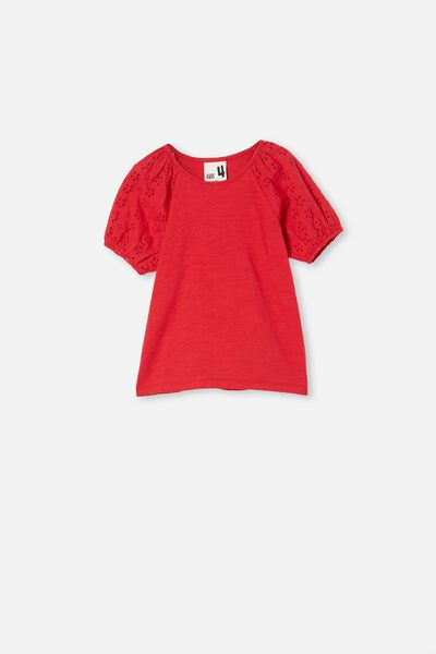 Isabella Puff Sleeve Top, LUCKY RED