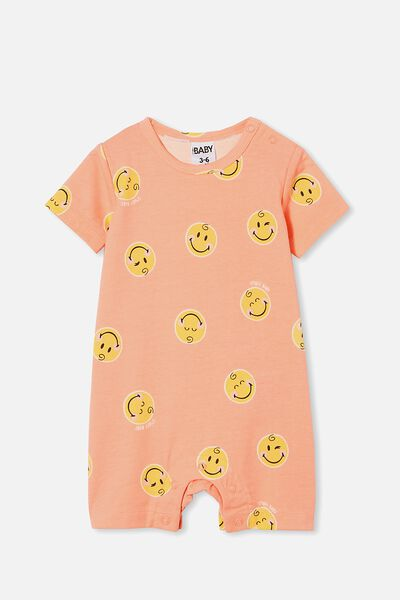 The Short Sleeve Romper License, LCN SMI MUSK MELON/SMILEY BABY
