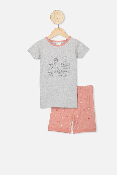 Nikki Short Sleeve Pajama Set, LCN DIS GREY MARLE/HANDRAWN BAMBI