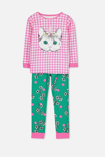 Kristen Girls Long Sleeve PJ Set, CAT-A-CORN