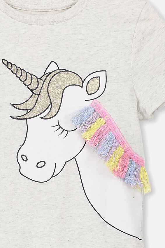 Stevie Ss Embellished Tee, SUMMER GREY MARLE UNICORN FRINGE MAX