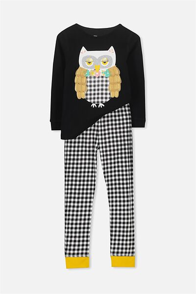 Alicia Long Sleeve Girls PJ Set, PRISCILLA THE OWL
