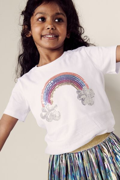 Stevie Ss Embellished Tee, WHITE/SEQUIN RAINBOW