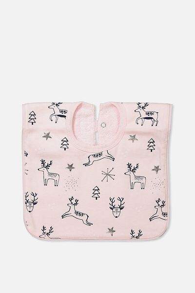Hansel And Gretel Babies Bib, BUBBLEGUM PINK/LEAPING UNICORNS