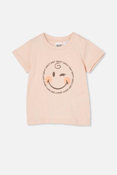 Jamie Short Sleeve Tee-License, LCN SMI PEACH WHIP/HAPPY SMILEY BABY