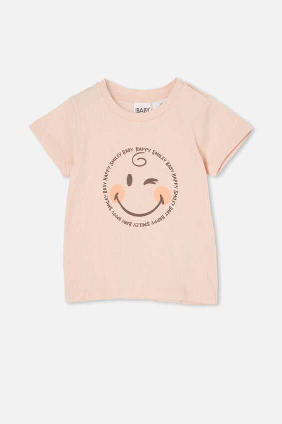Jamie Short Sleeve Tee-Lcn, LCN SMI PEACH WHIP/HAPPY SMILEY BABY