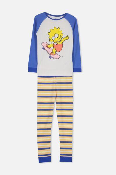 Giselle Raglan Girls Long Sleeve Waffle Pyjama Set, LCN LISA SIMPSON SKATEBOARD