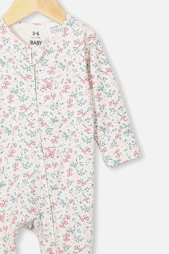 The Long Sleeve Zip Romper, DARK VANILLA/MAUDE FLORAL