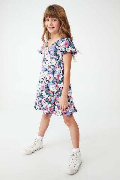 Britta Short Sleeve Dress, PHANTOM/POP FLORAL