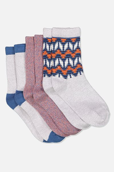 Kids 3 Pk Fashion Crew Socks, GREY AZTEC