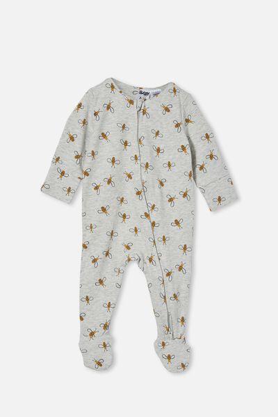 The Long Sleeve Zip Romper, CLOUD MARLE/BUDDY BEE