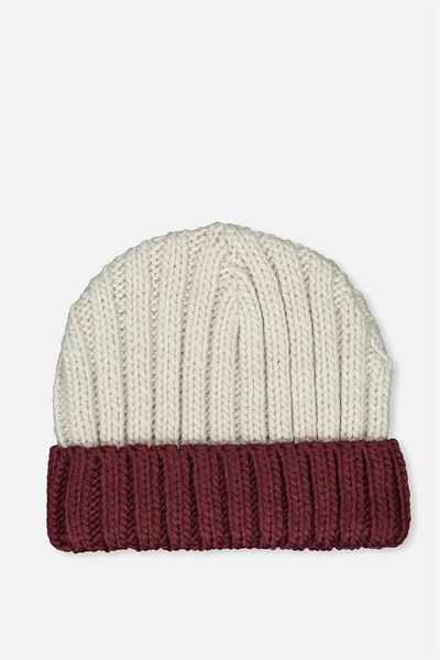 Winter Knit Beanie, COLOUR BLOCK CABLE