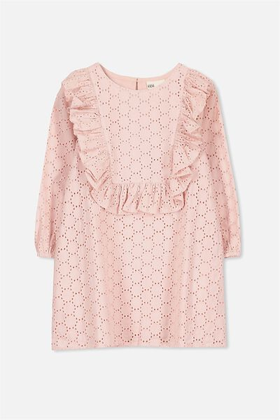 Agnes Long Sleeve Dress, SILVER PINK/BRODERIE