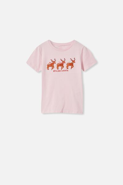 Stevie Short Sleeve Embellished Tee, PINK QUARTZ/ TEAM SANTA