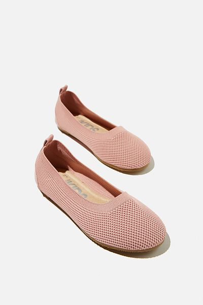 Knitted Ballet Flat, EARTH CLAY