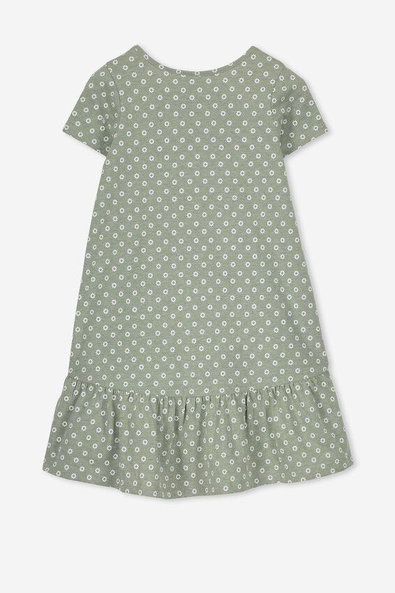 Joss Short Sleeve Dress, FOUR LEAF MARLE/SPOT DITSY