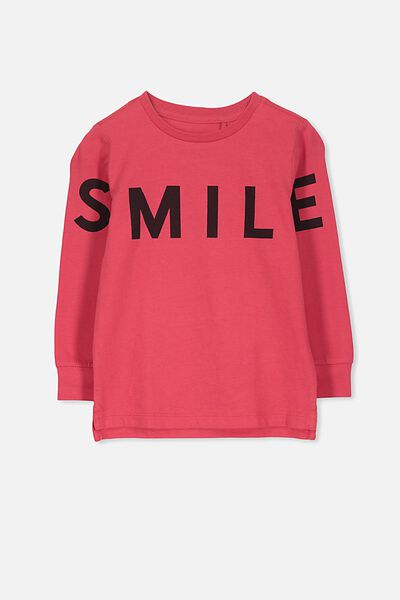 Tom Long Sleeve Tee, RIVER RED SMILE/SIS CUFF