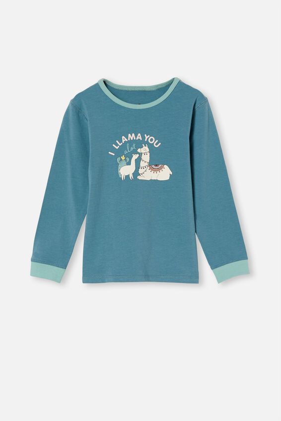 Florence Long Sleeve Pyjama Set, I LLAMA YOU TEAL STORM