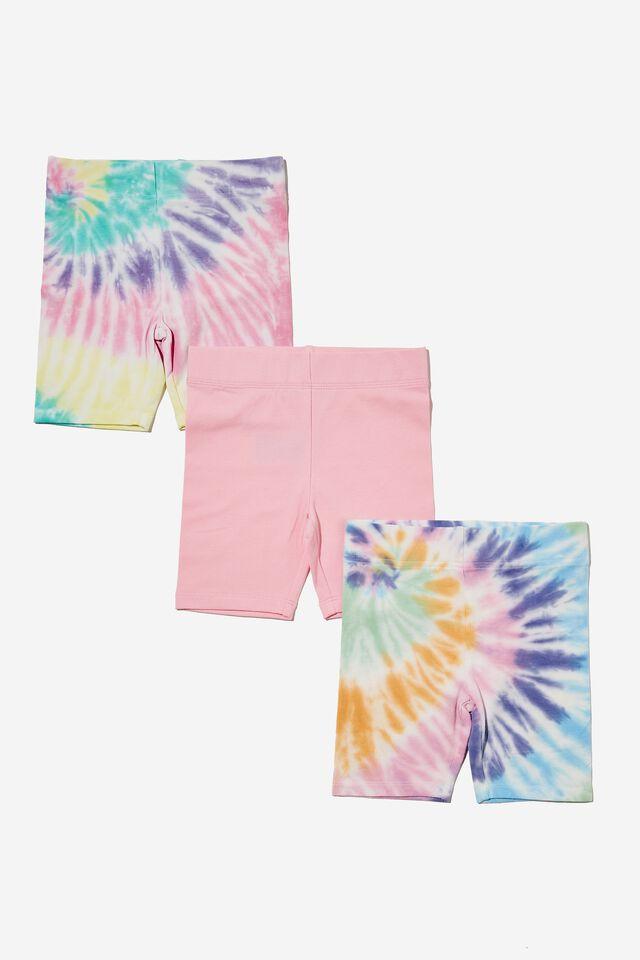 Girls Multipack Bike Shorts 3 Pack, TIE DYE BUNDLE