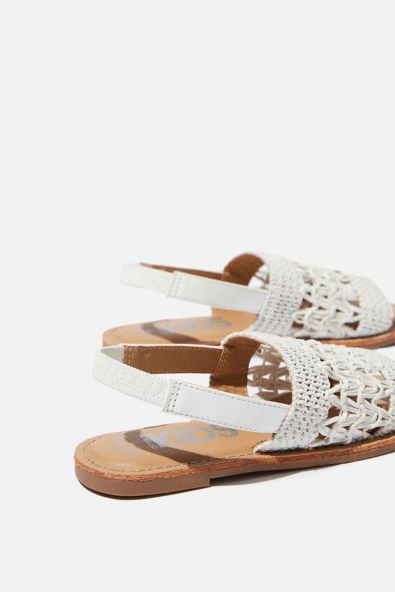 Woven Artisian Sandal, WHITE