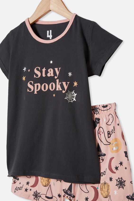 Harpa Short Sleeve Pyjama Set, PHANTOM/STAY SPOOKY