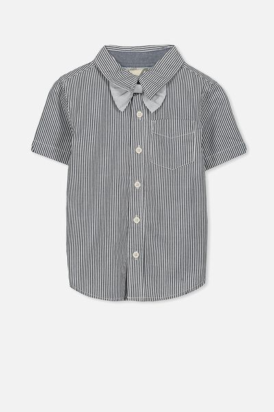 Barney Bow Tie Ss Shirt, NAVY/STRIPE