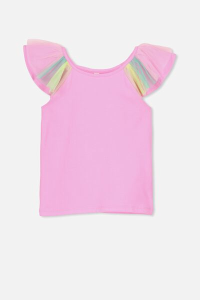 Lana Short Sleeve Tee, FAIRYFLOSS MARLE/RAINBOW SLEEVE