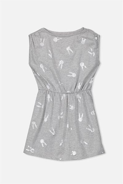 Cathy Short Sleeve Dress, LIGHT GREY MARLE/BUNNIES