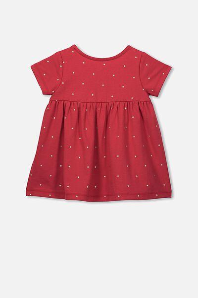 Milly Short Sleeve Dress, LUCK RED/FOIL SPOT
