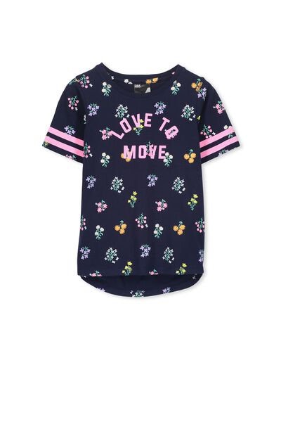 Active Floral Tee, PEACOAT/FORAL