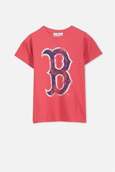 Short Sleeve License Tee, BONFIRE RED/BOSTON RED SOX