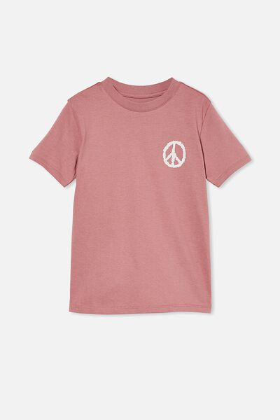 Max Skater Short Sleeve Tee, DUSTY BERRY/ PEACE SIGN