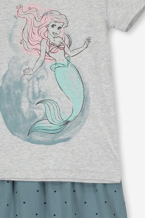 Disney Little Mermaid Short Sleeve PJ Set, LCN DIS LITTLE MERMAID/GREY MARLE