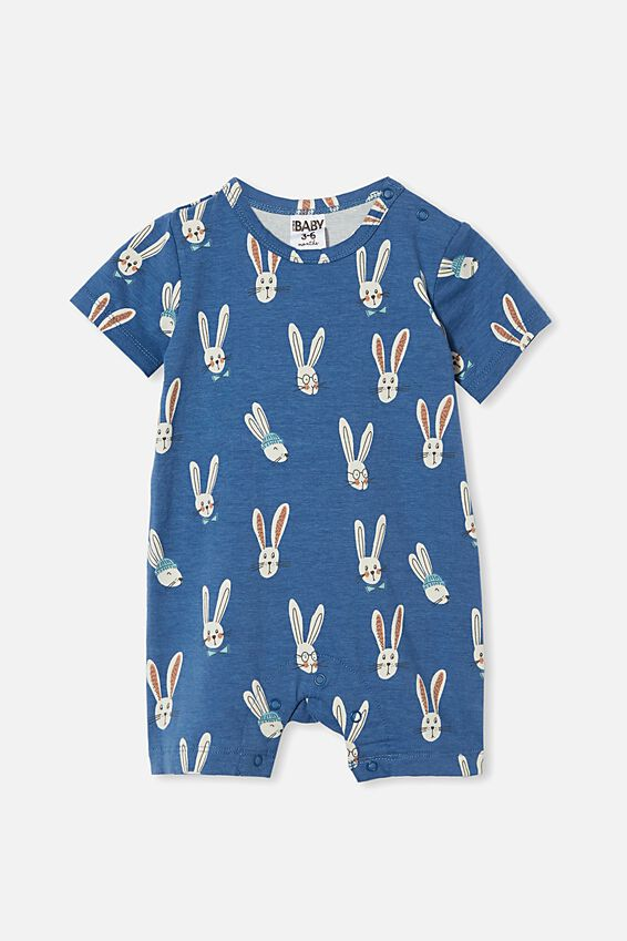 The Short Sleeve Romper, PETTY BLUE/BAILEY BUNNY