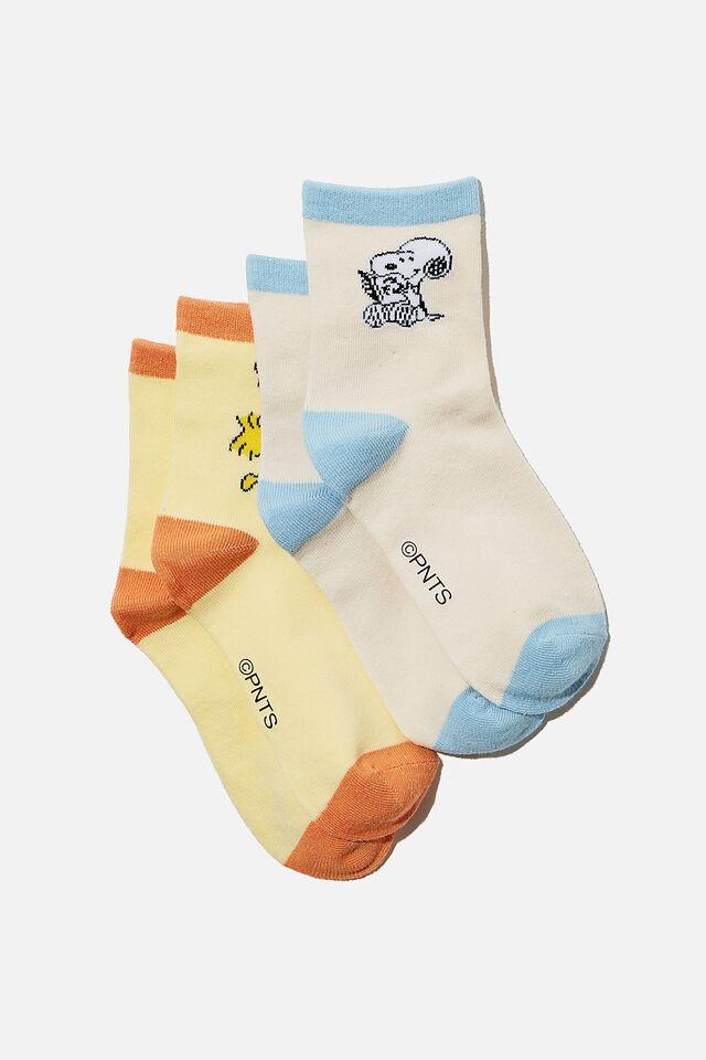 2Pk Snoopy Crew Sock, LCN PEA SNOOPY