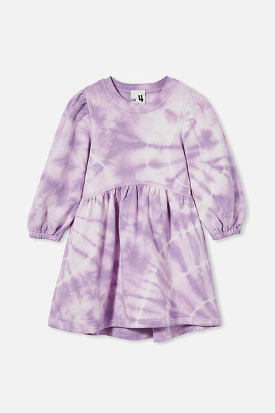 Flora Long Sleeve Dress, GRAPE SODA TIE DYE