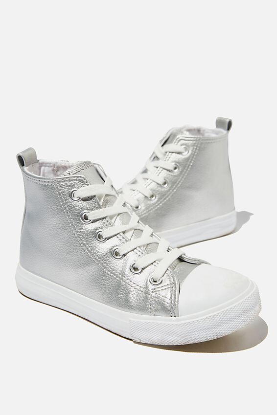Classic High Top Trainer, SILVER METALLIC