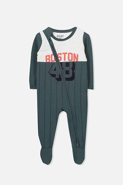 Sleep Mini Zip All In One Jumpsuit, DEEP FOREST GREEN/BOSTON