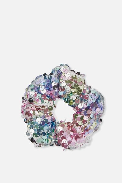 Bow Scrunchie, RAINBOW SEQUIN
