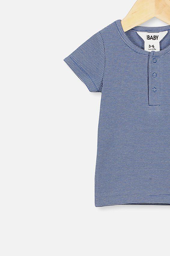 Adam Short Sleeve Placket Top, BENNY STRIPE PETTY BLUE/DARK VANILLA