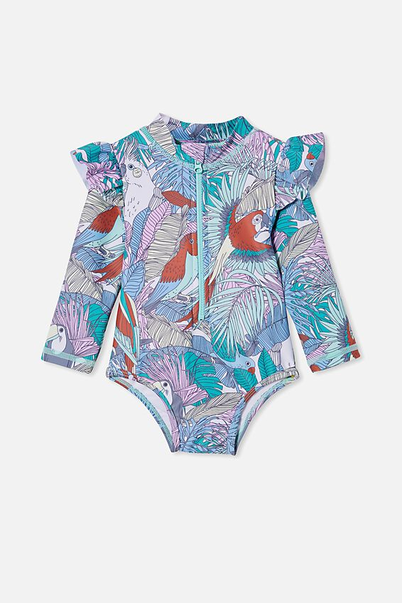 Lucy Long Sleeve Swimsuit, DREAM BLUE/TROPICAL BIRD PARTY