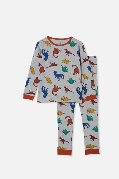 Jack Waffle Long Sleeve Pyjama Set, MULTI DINO SUMMER GREY MARLE