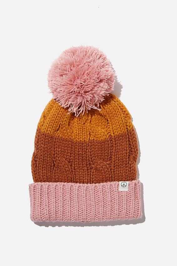Winter Knit Beanie, AMBER BROWN SPLICE