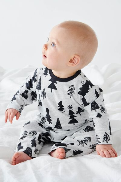 The Long Sleeve Snap Romper, CLOUD MARLE/FESTIVE TREES