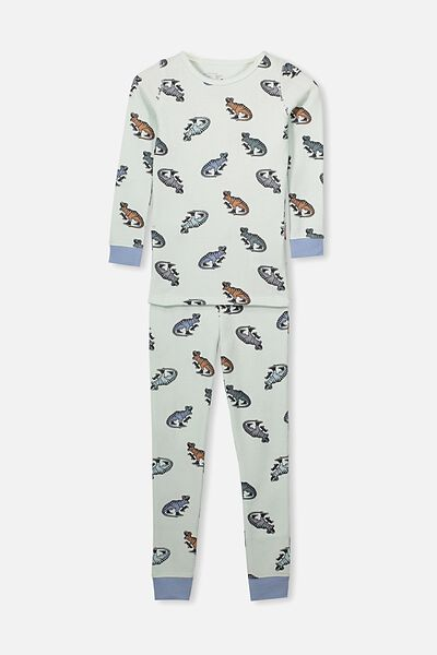 Tom Boys Long Sleeve Waffle Pajama Set, DINO ROAR