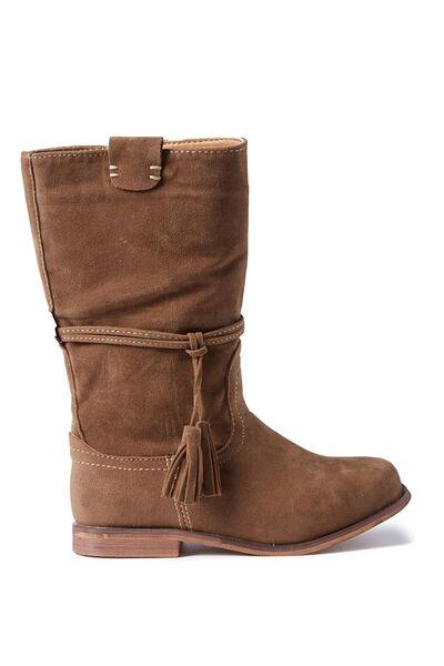 Mia Long Boot With Tassel, TAN