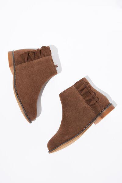Ruffle Ankle Boot, KHAKI